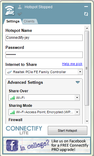 share internet using wifi
