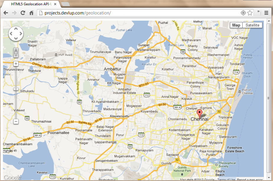 html5 geolocation api - maps preview