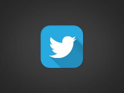 twitter icon with long shadow effect